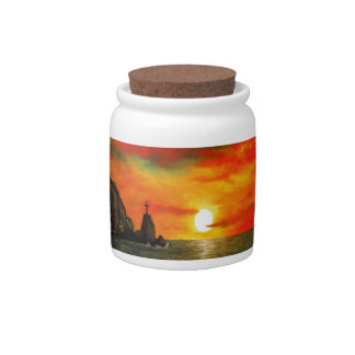 Red Sunset Candy Jar