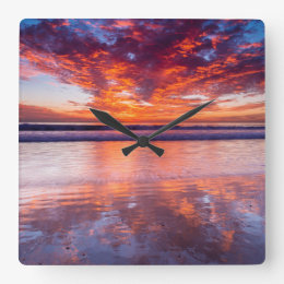 Red sunset over the sea, California Square Wall Clock
