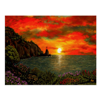Red Sunset Postcard