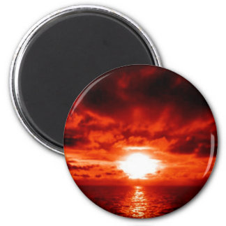 Red Sunset Seascape 2 Inch Round Magnet