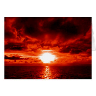 Red Sunset Seascape Card