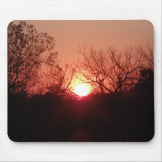Red Sunset Silhouette Mouse Pad