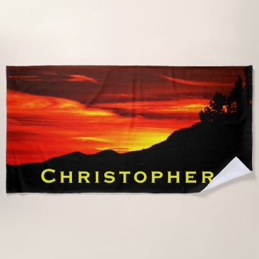 USA Themed Red Sunset Sky Kolob Terrace Beach Towel with Name