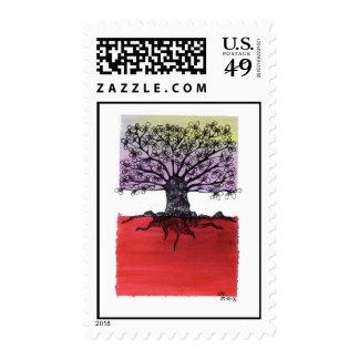 red sunset tree postage