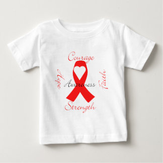 Red Support Ribbon Awareness Hope Faith Courage Baby T-Shirt