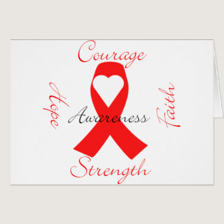 Red Support Ribbon Awareness Hope Faith Courage Card