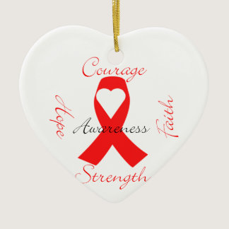 Red Support Ribbon Awareness Hope Faith Courage Ceramic Ornament