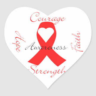 Red Support Ribbon Awareness Hope Faith Courage Heart Sticker