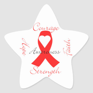 Red Support Ribbon Awareness Hope Faith Courage Star Sticker