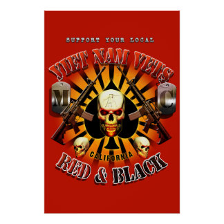 Red Support Viet Nam Vets MC - Red and Black Art Poster