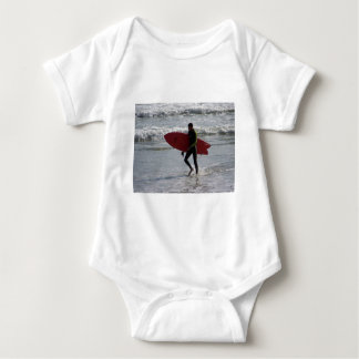 Red Surf Board Baby Bodysuit