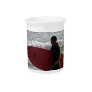Red Surf Board Beverage Pitchers