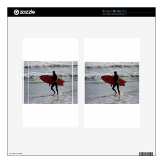 Red Surf Board Decal For Kindle Fire