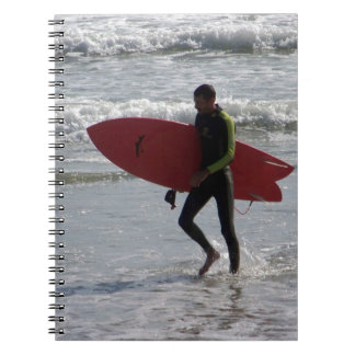 Red Surf Board Spiral Notebook