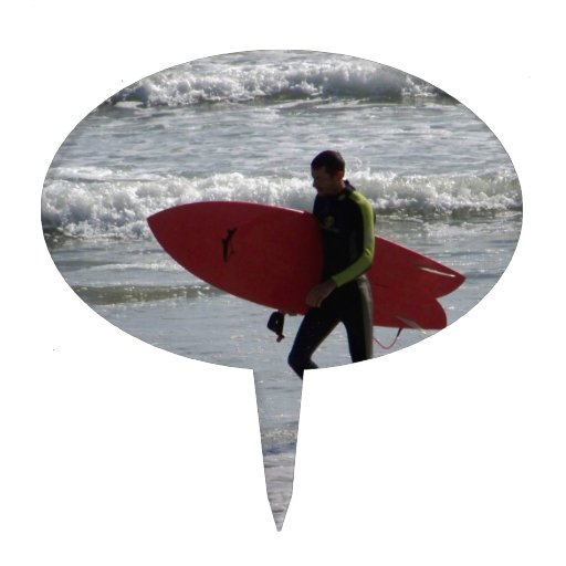 Red Surfboard Cake Topper