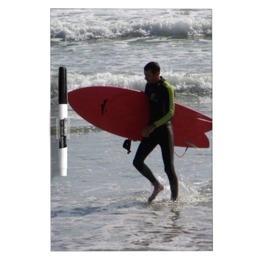 Red Surfboard Dry Erase White Board