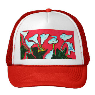 red surreal lilies cap mesh hat