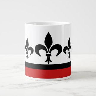 Red Swanky Fleur De Lis Jumbo Mug
