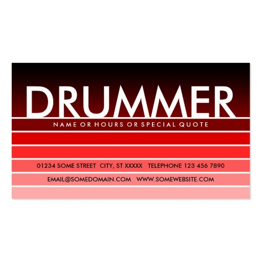 Red swatch drummer business card zazzle for Drummer business cards