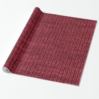Red Sweater Knit Texture Wrapping Paper