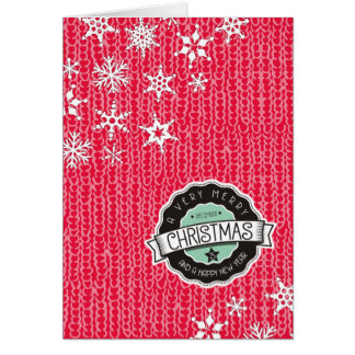 Red sweater snowflakes knitting crochet Christmas Card