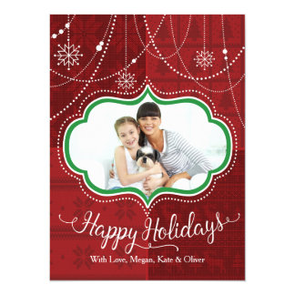 Red Sweater with Jewels Happy Holidays Photo Card