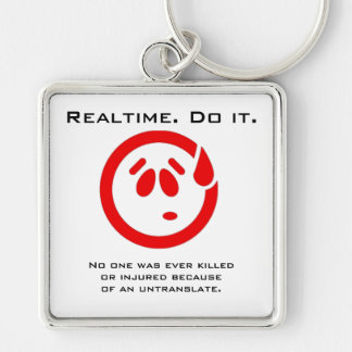 Red Sweaty Smiley Write Realtime Court Reporting Silver-Colored Square Keychain