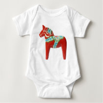Red Swedish Dala Horse Baby Bodysuit
