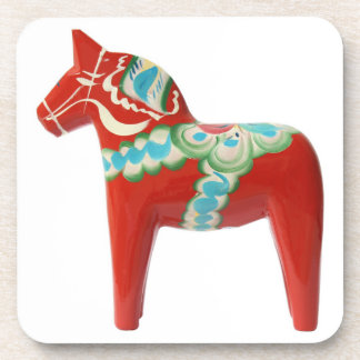 Red Swedish Dala Horse Drink Coaster
