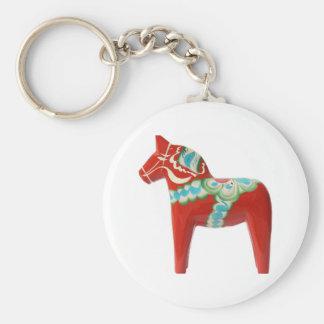 Red Swedish Dala Horse Keychain