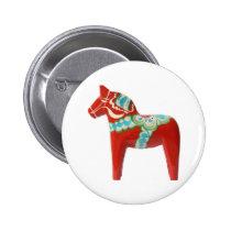 Red Swedish Dala Horse Pinback Button