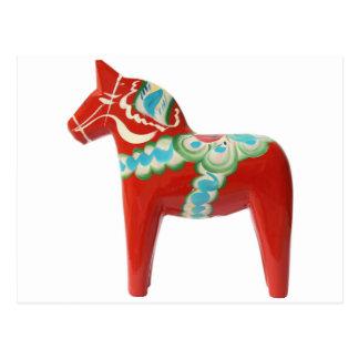 Red Swedish Dala Horse Postcard