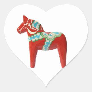 Red Swedish Dala Horse Heart Sticker