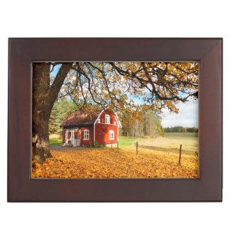 Red Swedish House Amongst Autumn Leaves Keepsake Box