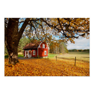 Red Swedish House Amongst Autumn Leaves Poster
