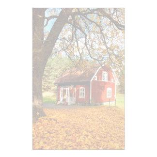 Red Swedish House Amongst Autumn Leaves Stationery