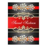 Red Sweet16 Elegant Pearl Birthday Invite