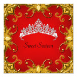 Red Sweet 16 Birthday Party Gold White Tiara Custom Invite