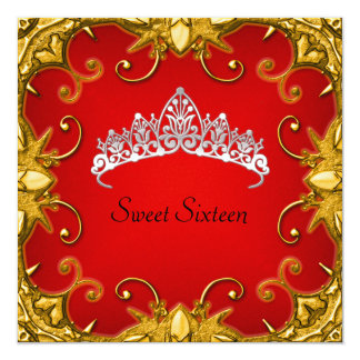 Red Sweet 16 Birthday Party Gold White Tiara 5.25x5.25 Square Paper Invitation Card