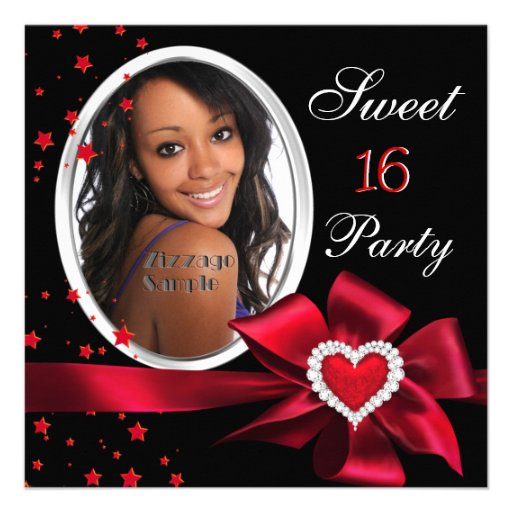 Red Sweet 16 Birthday Party Heart Photo Silver ...