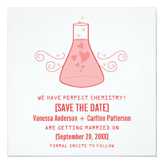 Red Sweet Chemistry Save the Date Invite
