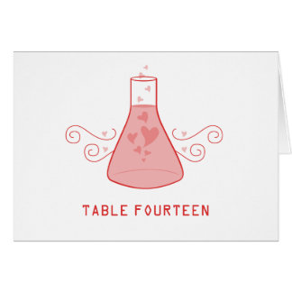 Red Sweet Chemistry Table Number Card