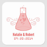 Red Sweet Chemistry Wedding Stickers