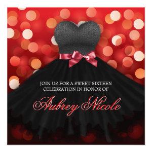 Red Sweet Sixteen Black Dress Birthday Invite