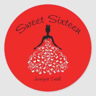 Red Sweet Sixteen Butterfly Gown Envelope Seals