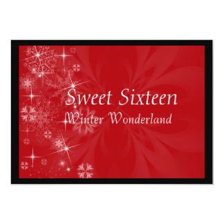 Red Sweet Sixteen Invitation with Snowflakes