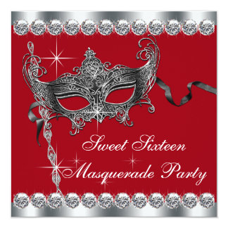 Red Sweet Sixteen Masquerade Party Invitations