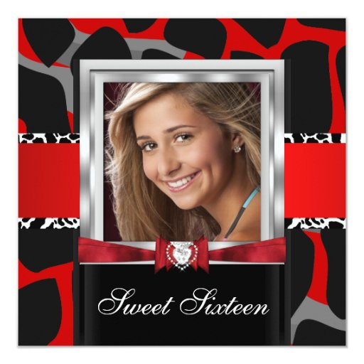 Red Sweet Sixteen Sweet 16 Party Photo 5.25x5.25 Square Paper Invitation Card