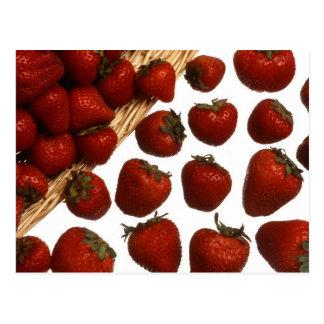 red sweet strawberries postcard