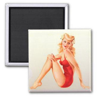 Red Swimsuit Blonde Vixen Pinup Fridge Magnet